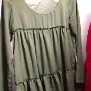 long sleeve green dress with ruffles